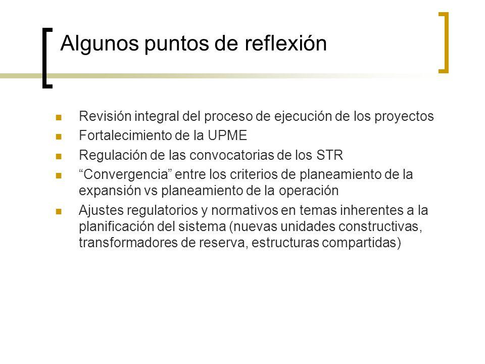 Algunos puntos de reflexión Revisión integral del proceso de ejecución de los proyectos Fortalecimiento de la UPME Regulación de las convocatorias de