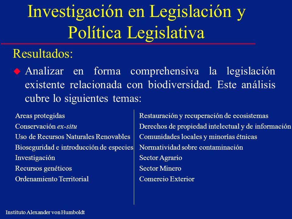 Instituto Alexander von Humboldt Investigación en Legislación y Política Legislativa Resultados: u Analizar en forma comprehensiva la legislación exis