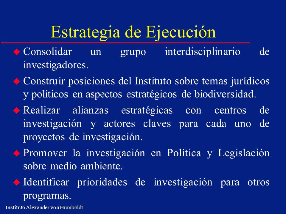 Instituto Alexander von Humboldt Estrategia de Ejecución u Consolidar un grupo interdisciplinario de investigadores. u Construir posiciones del Instit