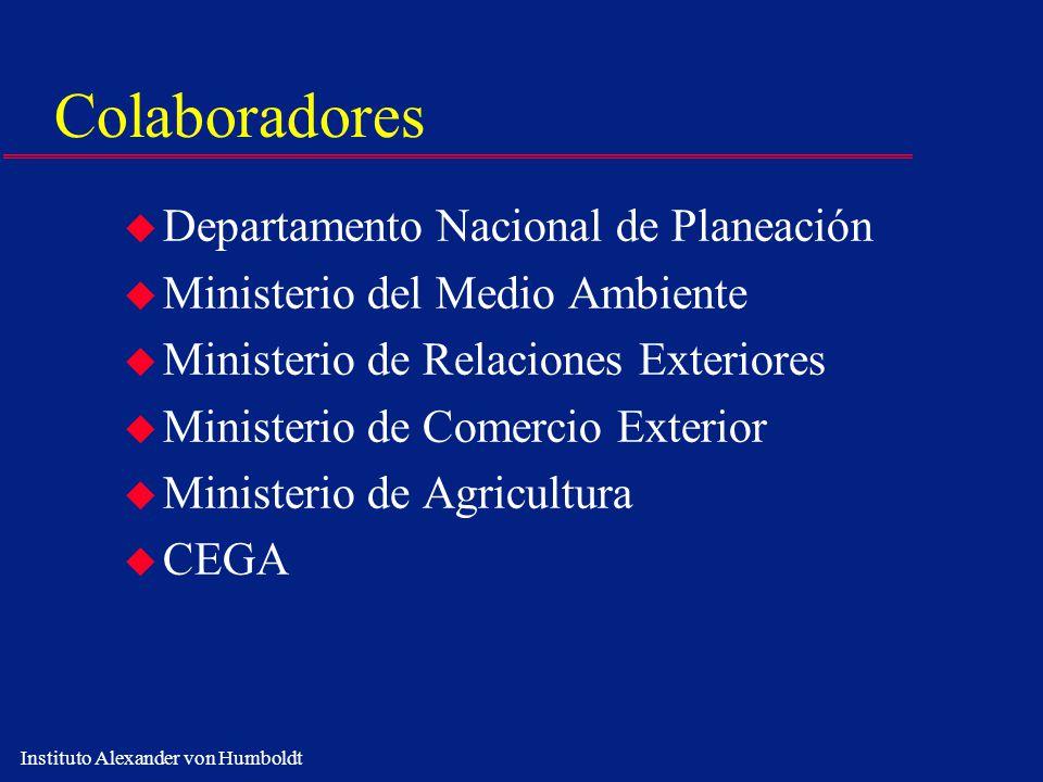 Instituto Alexander von Humboldt Colaboradores u Departamento Nacional de Planeación u Ministerio del Medio Ambiente u Ministerio de Relaciones Exteri