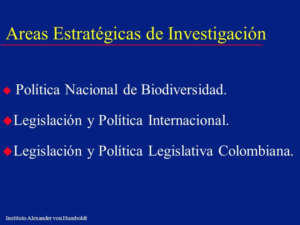 Instituto Alexander von Humboldt Areas Estratégicas de Investigación u Política Nacional de Biodiversidad. u Legislación y Política Internacional. u L