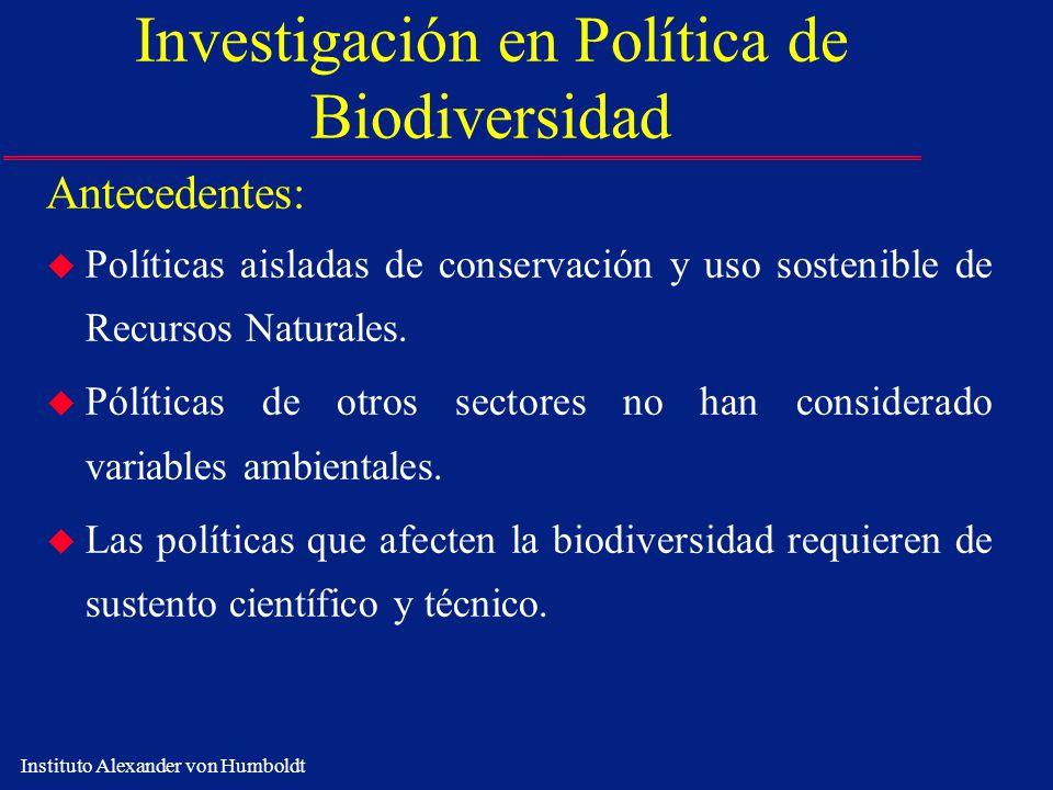 Instituto Alexander von Humboldt Investigación en Política de Biodiversidad Antecedentes: u Políticas aisladas de conservación y uso sostenible de Rec