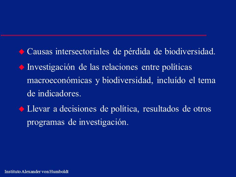 Instituto Alexander von Humboldt u Causas intersectoriales de pérdida de biodiversidad. u Investigación de las relaciones entre políticas macroeconómi