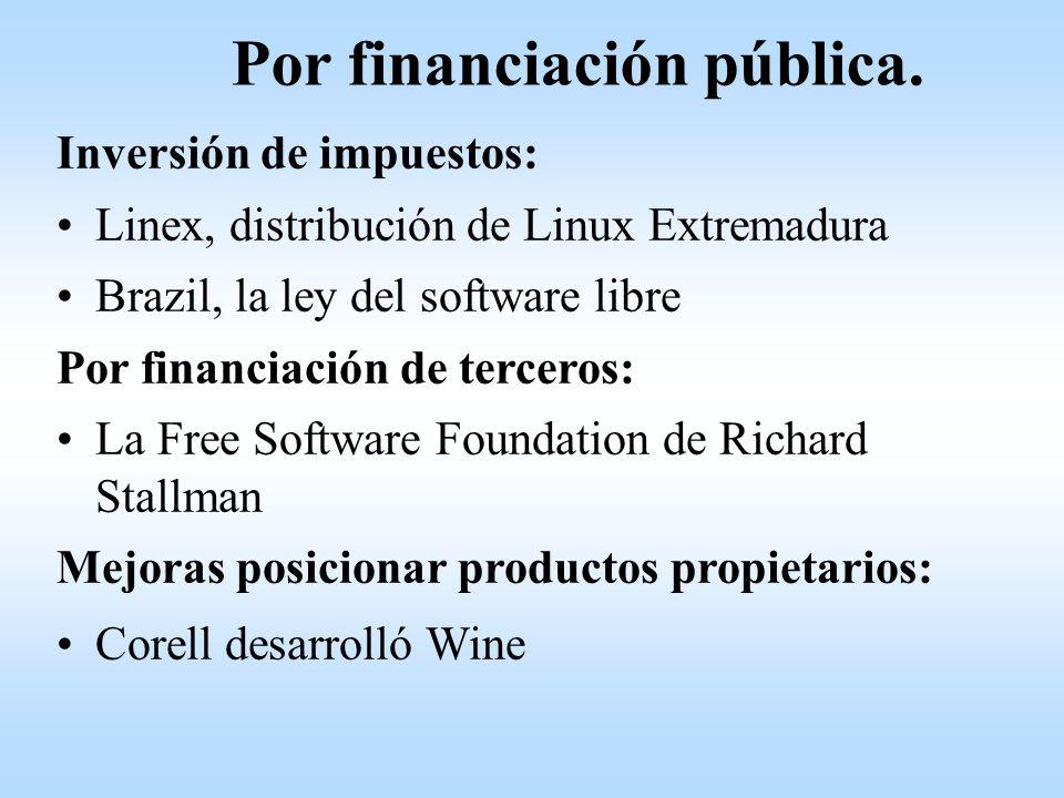 Inversión de impuestos: Linex, distribución de Linux Extremadura Brazil, la ley del software libre Por financiación de terceros: La Free Software Foun