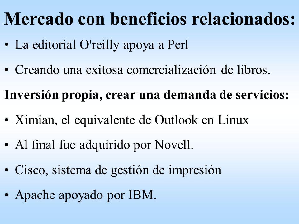 La editorial O'reilly apoya a Perl Creando una exitosa comercialización de libros. Inversión propia, crear una demanda de servicios: Ximian, el equiva