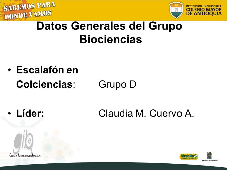 Datos Generales del Grupo Biociencias Escalafón en Colciencias: Grupo D Líder: Claudia M. Cuervo A.