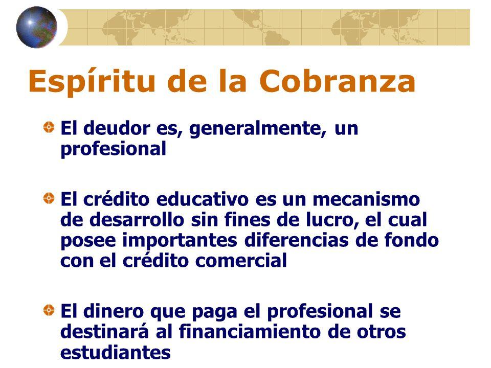 Espíritu de la Cobranza El deudor es, generalmente, un profesional El crédito educativo es un mecanismo de desarrollo sin fines de lucro, el cual pose