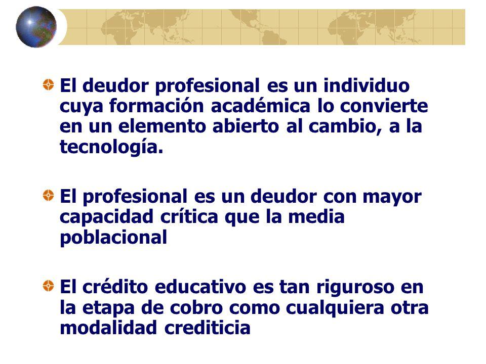 El deudor profesional es un individuo cuya formación académica lo convierte en un elemento abierto al cambio, a la tecnología. El profesional es un de