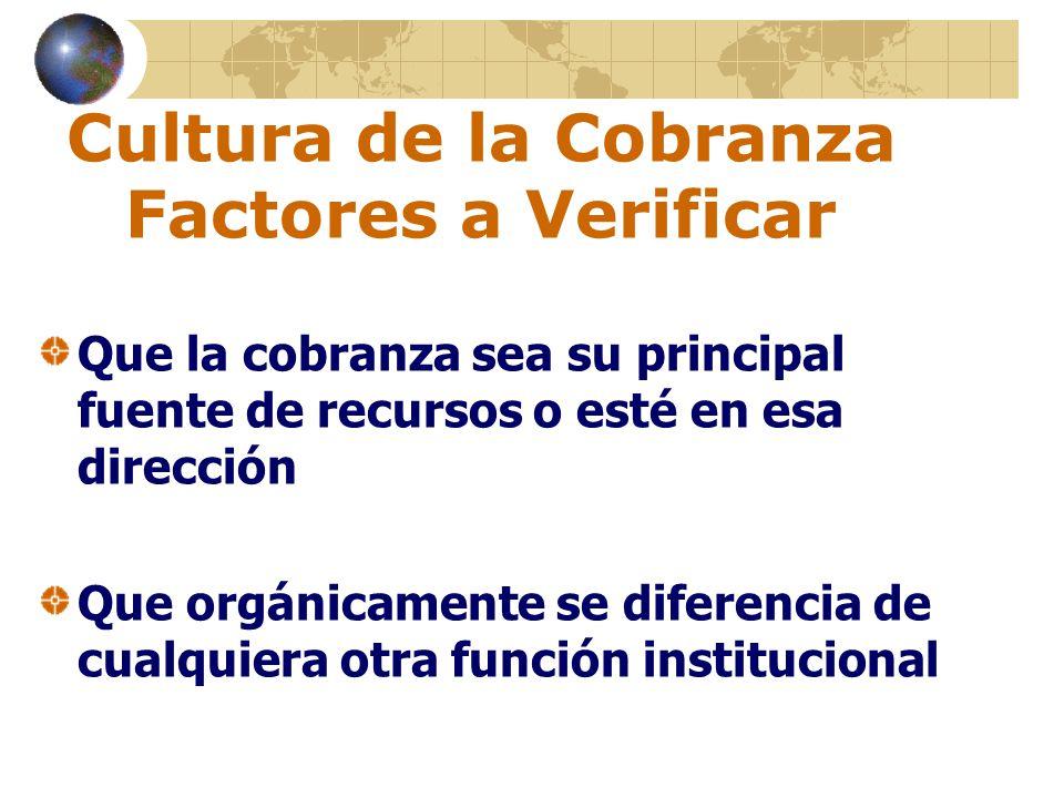 Cultura de la Cobranza Factores a Verificar Que la cobranza sea su principal fuente de recursos o esté en esa dirección Que orgánicamente se diferenci