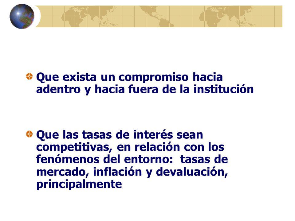 Que exista un compromiso hacia adentro y hacia fuera de la institución Que las tasas de interés sean competitivas, en relación con los fenómenos del e