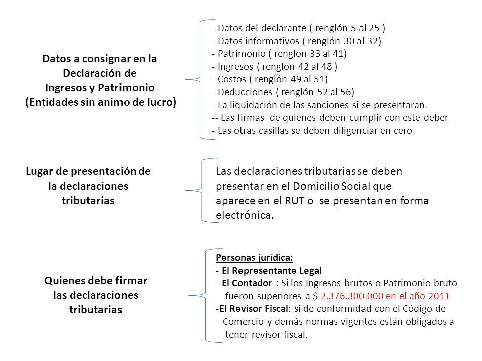 Datos a consignar en la Declaración de Ingresos y Patrimonio (Entidades sin animo de lucro) - Datos del declarante ( renglón 5 al 25 ) - Datos informativos ( renglón 30 al 32) - Patrimonio ( renglón 33 al 41) - Ingresos ( renglón 42 al 48 ) - Costos ( renglón 49 al 51) - Deducciones ( renglón 52 al 56) - La liquidación de las sanciones si se presentaran.
