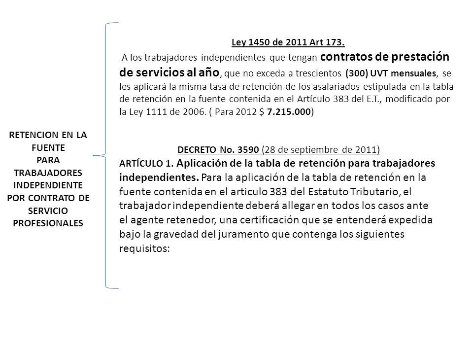 RETENCION EN LA FUENTE PARA TRABAJADORES INDEPENDIENTE POR CONTRATO DE SERVICIO PROFESIONALES Ley 1450 de 2011 Art 173. A los trabajadores independien