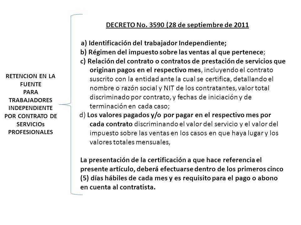 RETENCION EN LA FUENTE PARA TRABAJADORES INDEPENDIENTE POR CONTRATO DE SERVICIOs PROFESIONALES DECRETO No. 3590 (28 de septiembre de 2011 a) Identific