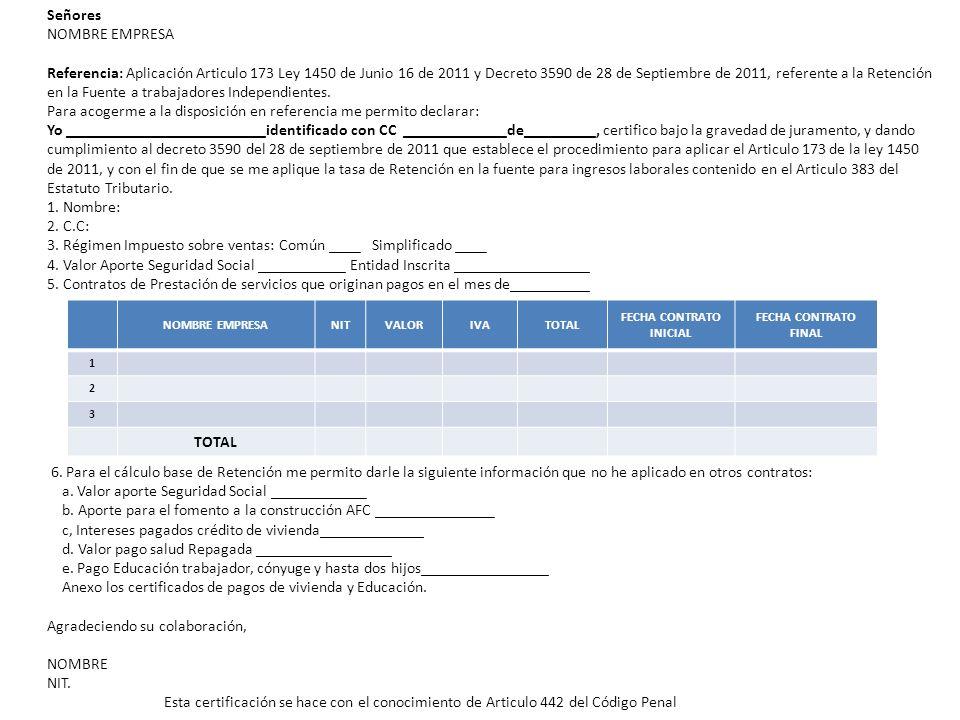 Señores NOMBRE EMPRESA Referencia: Aplicación Articulo 173 Ley 1450 de Junio 16 de 2011 y Decreto 3590 de 28 de Septiembre de 2011, referente a la Ret