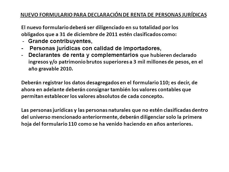 NUEVO FORMULARIO PARA DECLARACIÓN DE RENTA DE PERSONAS JURÍDICAS El nuevo formulario deberá ser diligenciado en su totalidad por los obligados que a 3