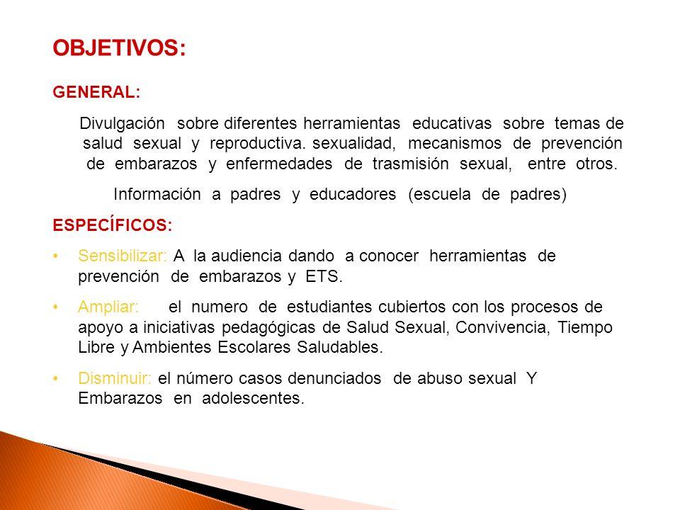 OBJETIVOS: GENERAL: Divulgación sobre diferentes herramientas educativas sobre temas de salud sexual y reproductiva. sexualidad, mecanismos de prevenc