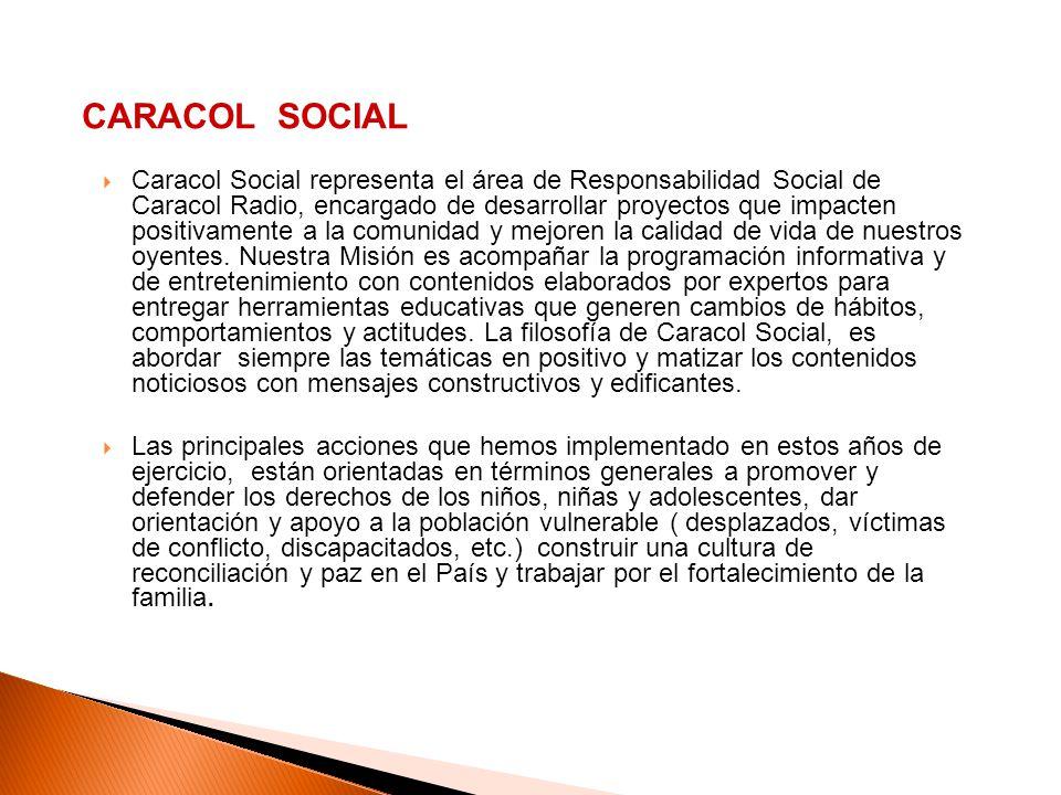 Caracol Social representa el área de Responsabilidad Social de Caracol Radio, encargado de desarrollar proyectos que impacten positivamente a la comun