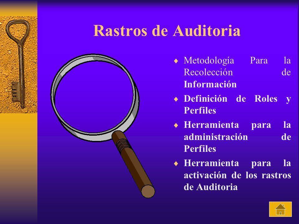 Rastros de Auditoria Metodología Para la Recolección de Información Definición de Roles y Perfiles Herramienta para la administración de Perfiles Herramienta para la activación de los rastros de Auditoria
