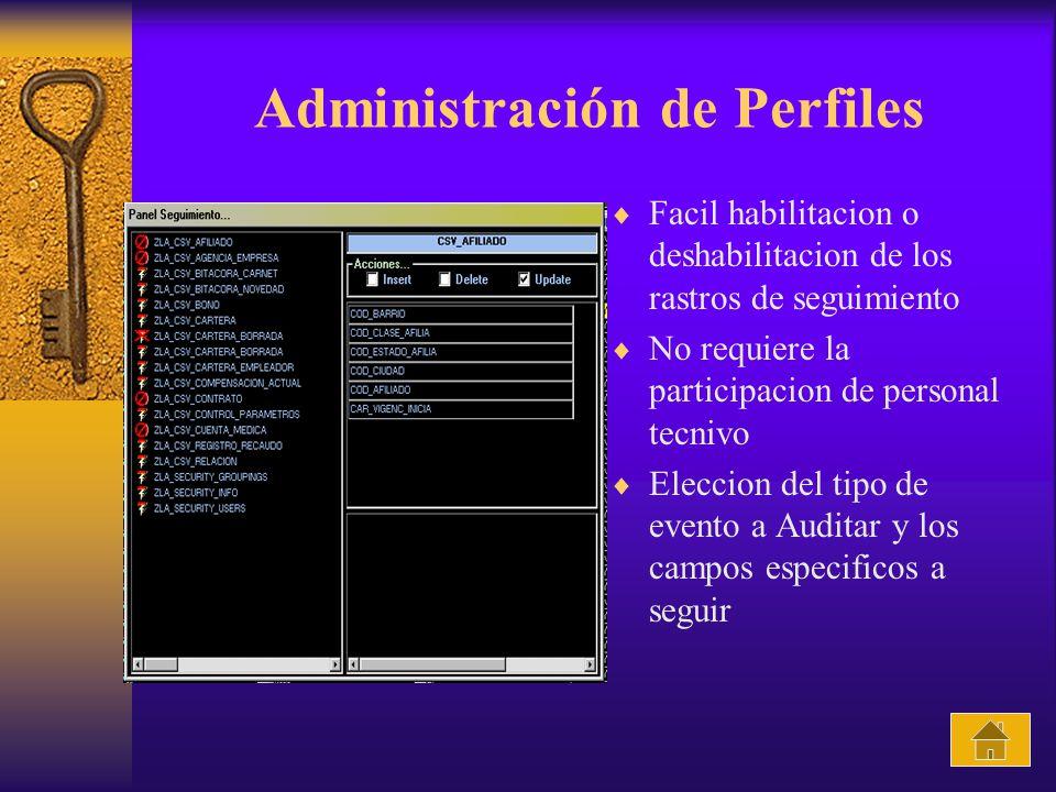 Administración de Perfiles Facil habilitacion o deshabilitacion de los rastros de seguimiento No requiere la participacion de personal tecnivo Eleccion del tipo de evento a Auditar y los campos especificos a seguir