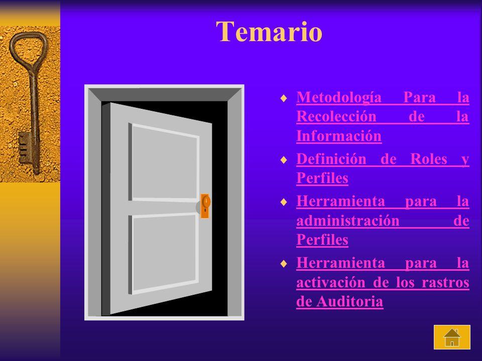 Temario Metodología Para la Recolección de la Información Metodología Para la Recolección de la Información Definición de Roles y Perfiles Definición
