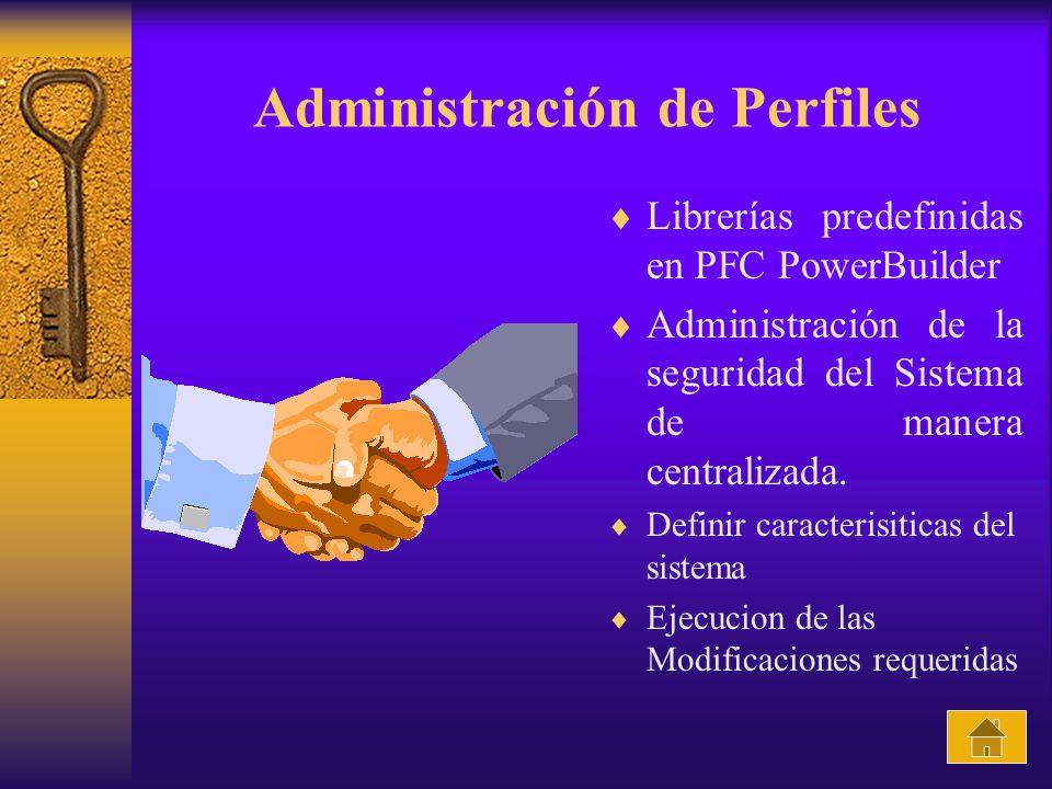 Administración de Perfiles Librerías predefinidas en PFC PowerBuilder Administración de la seguridad del Sistema de manera centralizada. Definir carac