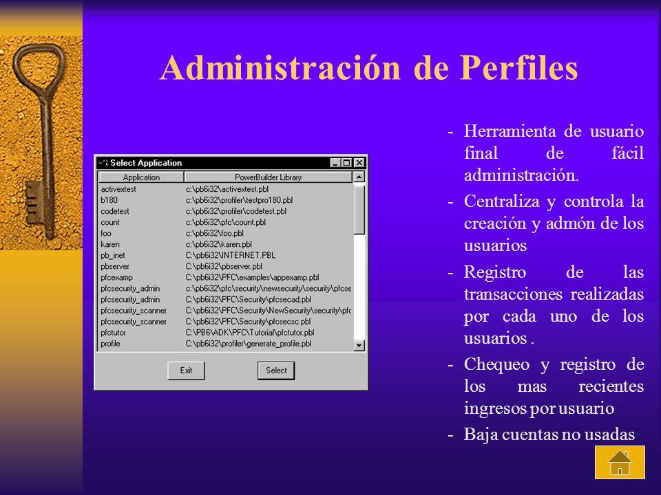 Administración de Perfiles -Herramienta de usuario final de fácil administración. -Centraliza y controla la creación y admón de los usuarios -Registro