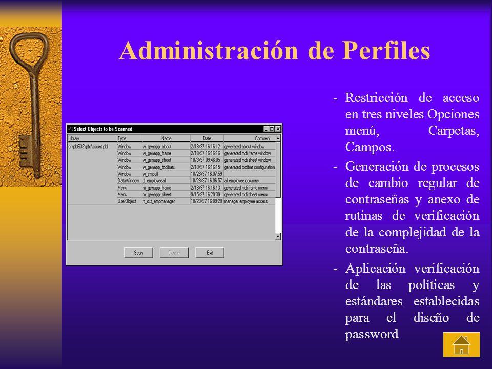 Administración de Perfiles -Restricción de acceso en tres niveles Opciones menú, Carpetas, Campos. -Generación de procesos de cambio regular de contra