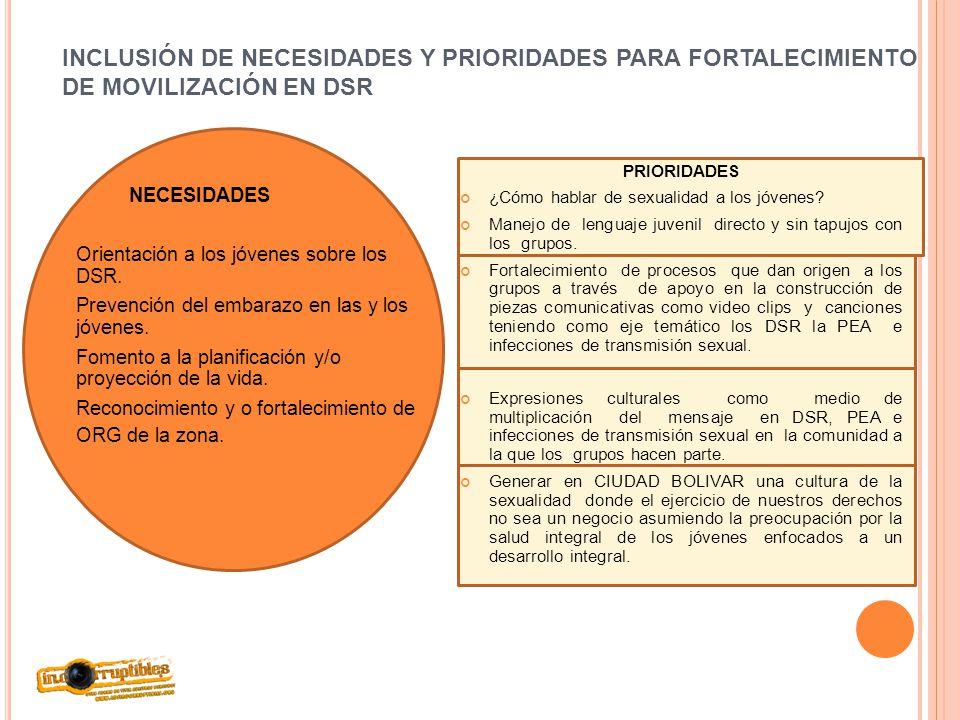INCLUSIÓN DE NECESIDADES Y PRIORIDADES PARA FORTALECIMIENTO DE MOVILIZACIÓN EN DSR NECESIDADES Orientación a los jóvenes sobre los DSR. Prevención del