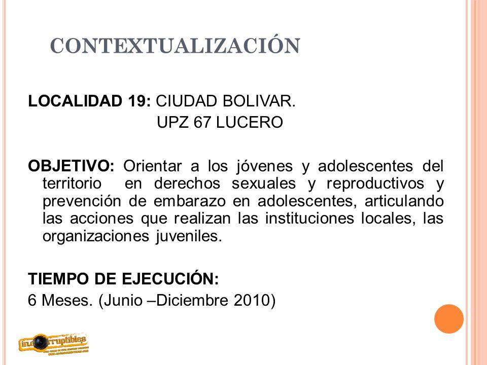 CONTEXTUALIZACIÓN LOCALIDAD 19: CIUDAD BOLIVAR. UPZ 67 LUCERO OBJETIVO: Orientar a los jóvenes y adolescentes del territorio en derechos sexuales y re