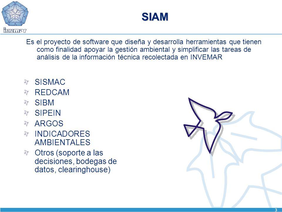 3 SIAM SISMAC REDCAM SIBM SIPEIN ARGOS INDICADORES AMBIENTALES Otros (soporte a las decisiones, bodegas de datos, clearinghouse) Es el proyecto de software que diseña y desarrolla herramientas que tienen como finalidad apoyar la gestión ambiental y simplificar las tareas de análisis de la información técnica recolectada en INVEMAR