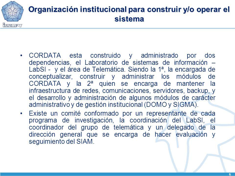 6 Organización institucional para construir y/o operar el sistema CORDATA esta construido y administrado por dos dependencias, el Laboratorio de sistemas de información – LabSI - y el área de Telemática.