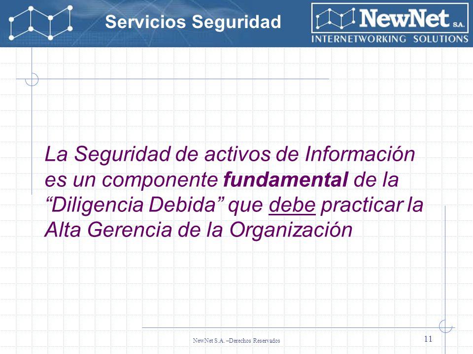 Servicios Seguridad NewNet S.A. –Derechos Reservados 11 La Seguridad de activos de Información es un componente fundamental de la Diligencia Debida qu