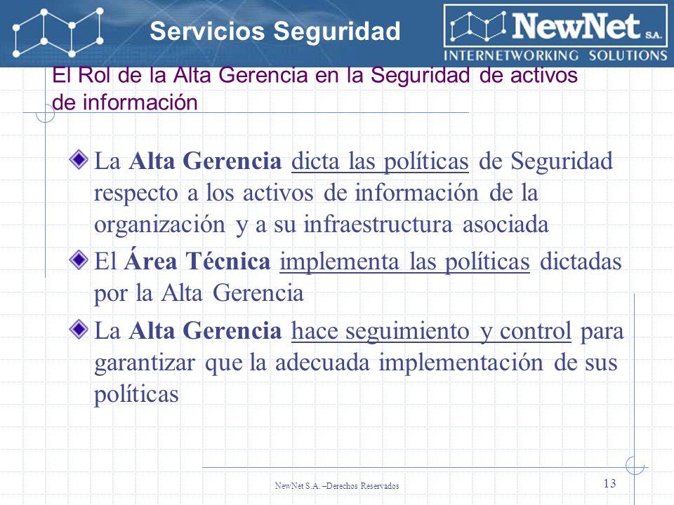 Servicios Seguridad NewNet S.A. –Derechos Reservados 13 El Rol de la Alta Gerencia en la Seguridad de activos de información La Alta Gerencia dicta la