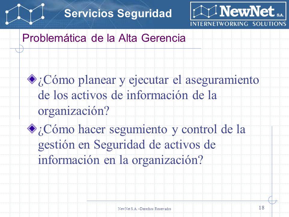 Servicios Seguridad NewNet S.A. –Derechos Reservados 18 Problemática de la Alta Gerencia ¿Cómo planear y ejecutar el aseguramiento de los activos de i