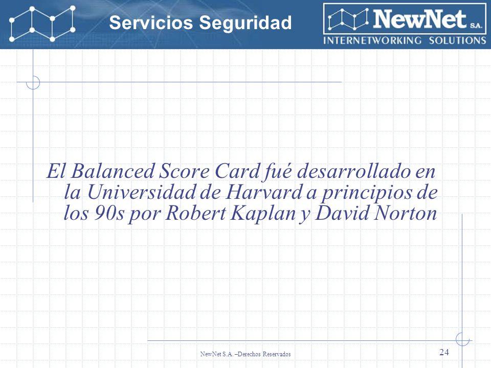Servicios Seguridad NewNet S.A. –Derechos Reservados 24 El Balanced Score Card fué desarrollado en la Universidad de Harvard a principios de los 90s p
