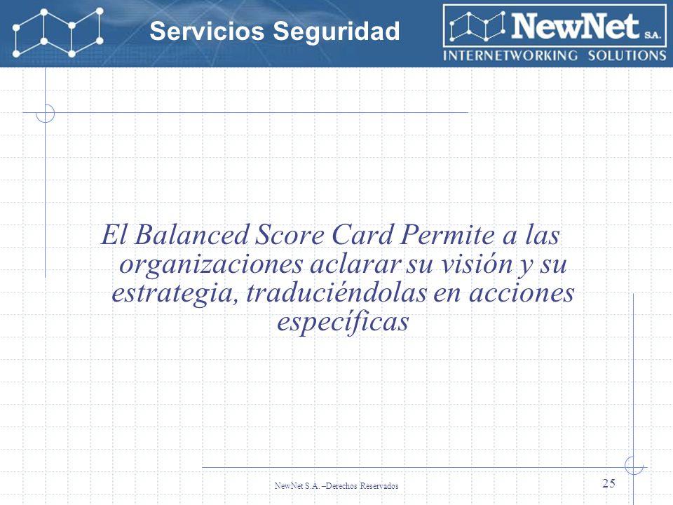 Servicios Seguridad NewNet S.A. –Derechos Reservados 25 El Balanced Score Card Permite a las organizaciones aclarar su visión y su estrategia, traduci