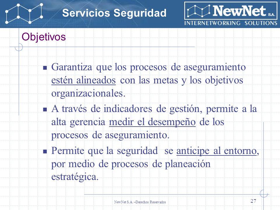 Servicios Seguridad NewNet S.A. –Derechos Reservados 27 Objetivos Garantiza que los procesos de aseguramiento estén alineados con las metas y los obje