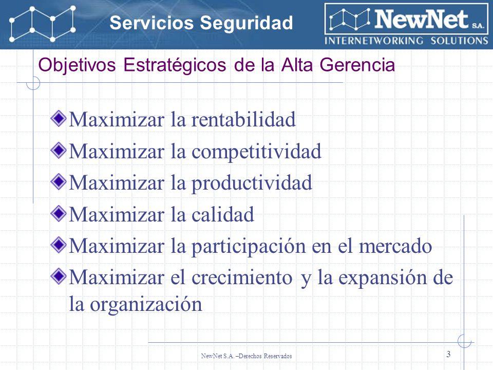 Servicios Seguridad NewNet S.A. –Derechos Reservados 3 Objetivos Estratégicos de la Alta Gerencia Maximizar la rentabilidad Maximizar la competitivida