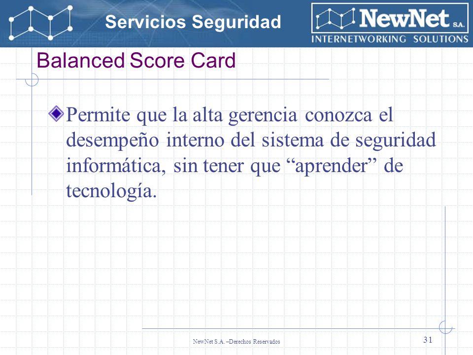 Servicios Seguridad NewNet S.A. –Derechos Reservados 31 Balanced Score Card Permite que la alta gerencia conozca el desempeño interno del sistema de s