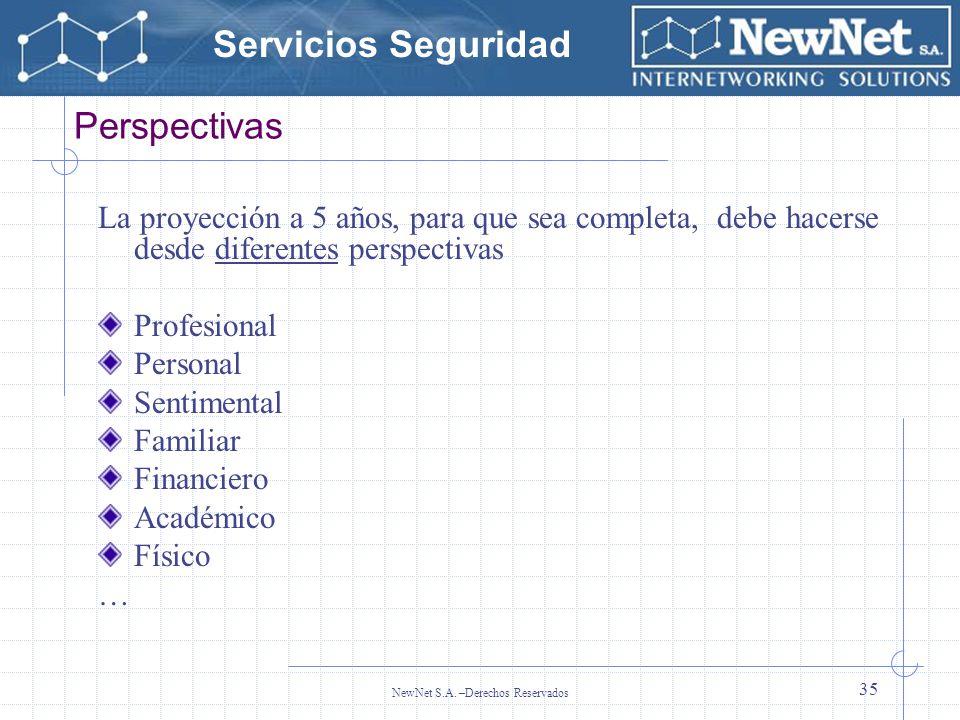 Servicios Seguridad NewNet S.A. –Derechos Reservados 35 Perspectivas La proyección a 5 años, para que sea completa, debe hacerse desde diferentes pers