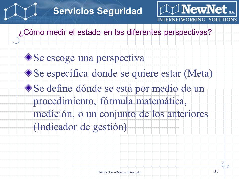 Servicios Seguridad NewNet S.A. –Derechos Reservados 37 ¿Cómo medir el estado en las diferentes perspectivas? Se escoge una perspectiva Se especifica