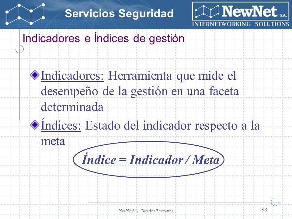 Servicios Seguridad NewNet S.A. –Derechos Reservados 38 Indicadores e Índices de gestión Indicadores: Herramienta que mide el desempeño de la gestión