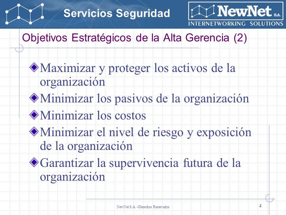 Servicios Seguridad NewNet S.A. –Derechos Reservados 4 Objetivos Estratégicos de la Alta Gerencia (2) Maximizar y proteger los activos de la organizac