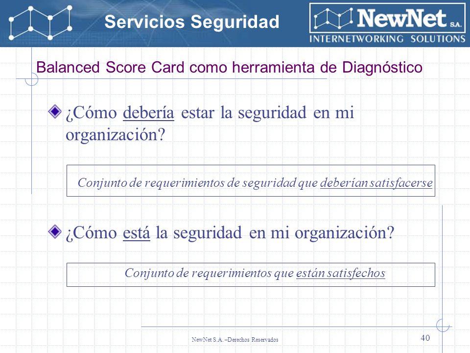 Servicios Seguridad NewNet S.A. –Derechos Reservados 40 Balanced Score Card como herramienta de Diagnóstico ¿Cómo debería estar la seguridad en mi org
