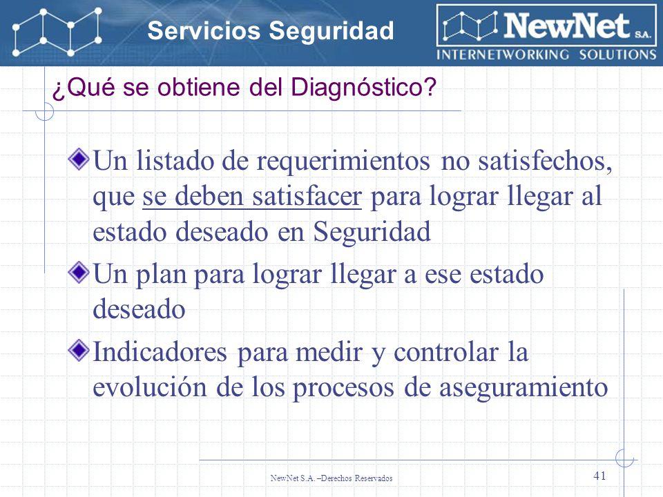 Servicios Seguridad NewNet S.A. –Derechos Reservados 41 ¿Qué se obtiene del Diagnóstico? Un listado de requerimientos no satisfechos, que se deben sat