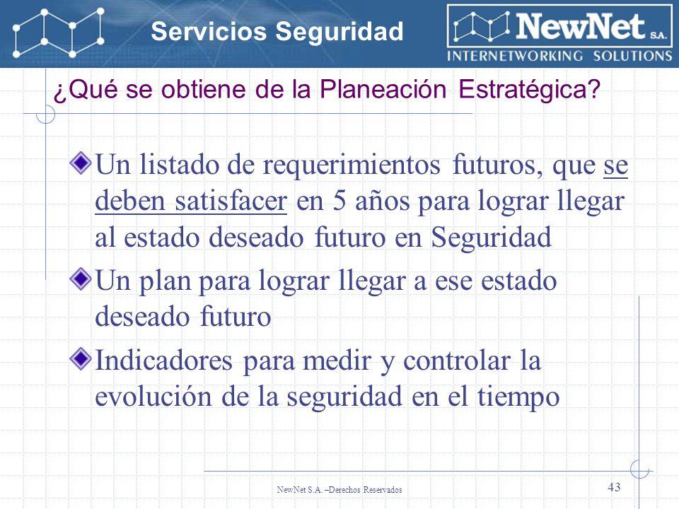 Servicios Seguridad NewNet S.A. –Derechos Reservados 43 ¿Qué se obtiene de la Planeación Estratégica? Un listado de requerimientos futuros, que se deb
