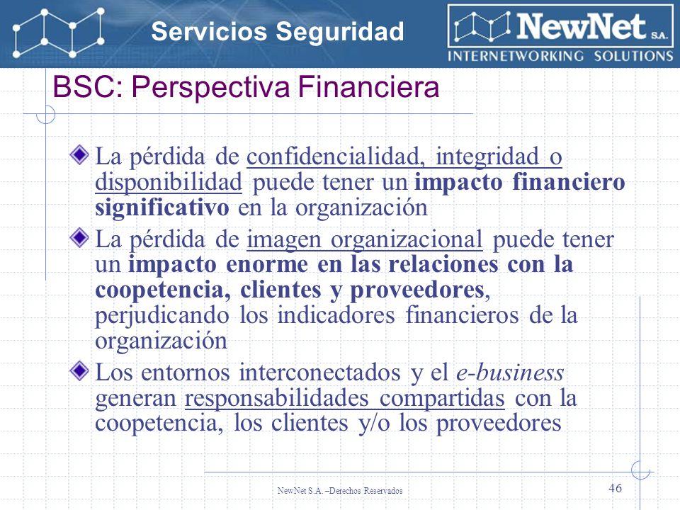 Servicios Seguridad NewNet S.A. –Derechos Reservados 46 BSC: Perspectiva Financiera La pérdida de confidencialidad, integridad o disponibilidad puede