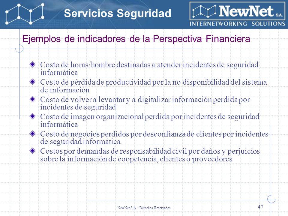 Servicios Seguridad NewNet S.A. –Derechos Reservados 47 Ejemplos de indicadores de la Perspectiva Financiera Costo de horas/hombre destinadas a atende