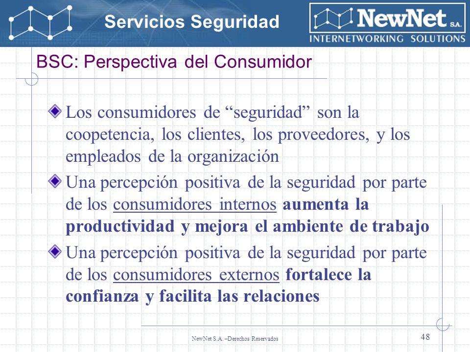 Servicios Seguridad NewNet S.A. –Derechos Reservados 48 BSC: Perspectiva del Consumidor Los consumidores de seguridad son la coopetencia, los clientes