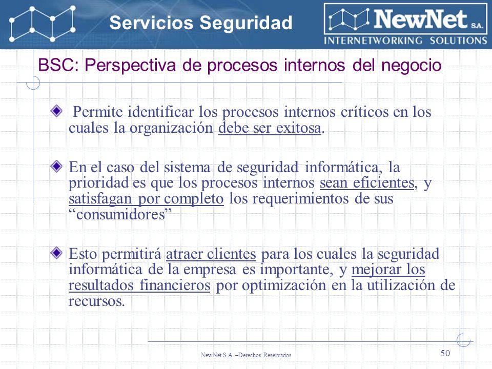 Servicios Seguridad NewNet S.A. –Derechos Reservados 50 BSC: Perspectiva de procesos internos del negocio Permite identificar los procesos internos cr